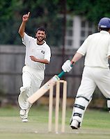 M Akram celebrates after dismissing an Ickenham player during the Middlesex County League Division Three game between South Hampstead and Ickenham at Milverton Road, Willesden Green on Saturday Aug 20, 2011