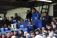 Bath Head Coach Gary Gold, First team coach Toby Booth and Forwards coach Neal Hatley look on from the coaches' box. Aviva Premiership match, between Bath Rugby and London Welsh on March 30, 2013 at the Recreation Ground in Bath, England. Photo by: Patrick Khachfe / Onside Images
