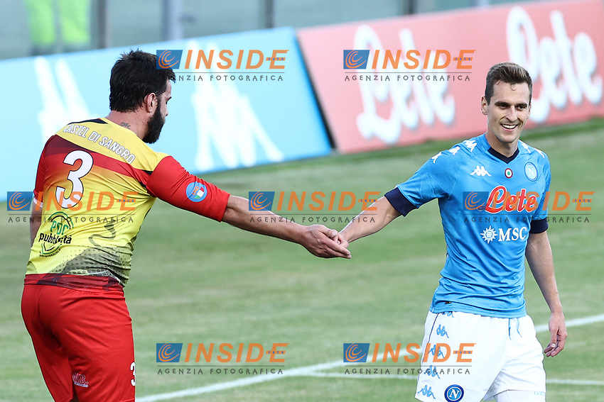 Arkadiusz Milik of SSC Napoli during the friendly football match between SSC Napoli and Castel di Sangro Cep 1953 at stadio Patini in Castel di Sangro, Italy, August 28, 2020. <br /> Photo Cesare Purini / Insidefoto