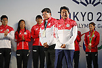 (L-R)  Koichi Kagiuda,  Shinzo Abe,Hirooki Arai, Daichi Sawano (JPN), <br /> AUGUST 21, 2016 - : <br /> Japanese prime minister Shinzo Abe attended the exchange meeting with Japan National team member and <br /> their medalist<br /> at Japan House in Rio de Janeiro <br /> during the Rio 2016 Olympic Games in Rio de Janeiro, Brazil. <br /> (Photo by Yusuke Nakanishi/AFLO SPORT)