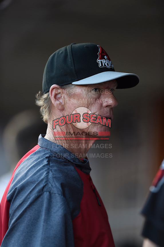 ***Temporary Unedited Reference File***Arkansas Travelers pitching coach Scott Budner (35) during a game against the Tulsa Drillers on April 25, 2016 at ONEOK Field in Tulsa, Oklahoma.  Tulsa defeated Arkansas 4-3.  (Mike Janes/Four Seam Images)