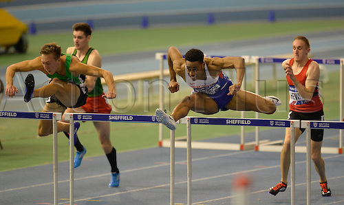 27.02.2016. EIS Sheffield, Sheffield, England. British Indoor Athletics Championships Day One. David Omororgie competing in a 60m Hurdles heat.