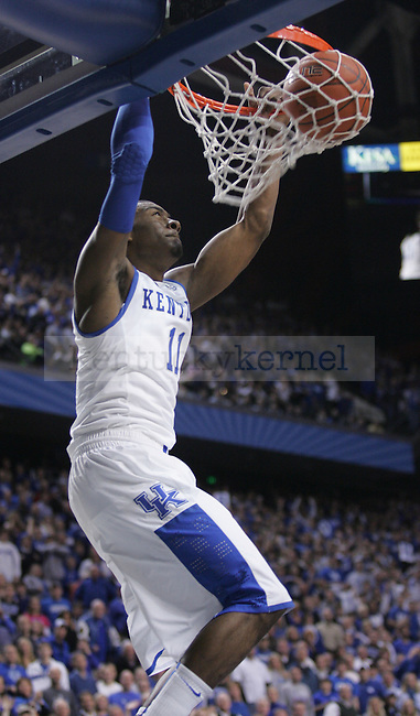 Freshman guard John Wall dunks the ball during the first half of the game against the Gamecocks at Rupp Arena on Thursday. Photo by Zach Brake | Staff.