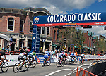 August 11, 2017 - Breckenridge, Colorado, U.S. -  Women's pro cyclists race through the streets of Breckenridge during the second stage of the inaugural Colorado Classic cycling race, Breckenridge, Colorado.