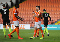 Blackpool's Oliver Turton (right) celebrates scoring the opening goal with team-mates Armand Gnanduillet (left) and Ryan Hardie<br /> <br /> Photographer Kevin Barnes/CameraSport<br /> <br /> The Carabao Cup First Round - Blackpool v Macclesfield Town - Tuesday 13th August 2019 - Bloomfield Road - Blackpool<br />  <br /> World Copyright © 2019 CameraSport. All rights reserved. 43 Linden Ave. Countesthorpe. Leicester. England. LE8 5PG - Tel: +44 (0) 116 277 4147 - admin@camerasport.com - www.camerasport.com