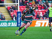 4th November 2017, Welford Road, Leicester, England; Anglo-Welsh Cup, Leicester Tigers versus Gloucester;  Captain Joe Ford kicks his second penalty for Leicester Tigers in the 36th minute