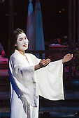 "London, UK. 25 February 2015. Hyeseoung Kwon as Cio Cio San/Butterfly. Dress rehearsal of the Puccini opera ""Madam Butterfly"", staged in the round of the Royal Albert Hall. The opera is performed from 26 February to 15 March 2015. Directed by David Freeman with Oliver Gooch conducting the Royal Philharmonic Orchestra. Cast includes: Hyeseoung Kwon as Cio Cio San/Butterfly, Jeffrey Gwaltney as Pinkerton, David Kempster as Sharpless, Sabina Kim as Suzuki, Michael Druiett as The Bonze, Julius Ahn as Goro and Lise Christensen as Kate Pinkerton."