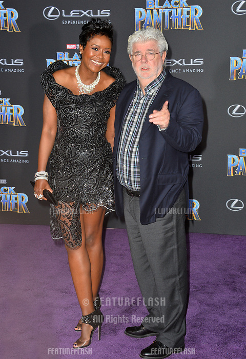 "George Lucas & Mellody Hobson at the world premiere for ""Black Panther"" at the Dolby Theatre, Hollywood, USA 29 Jan. 2018<br /> Picture: Paul Smith/Featureflash/SilverHub 0208 004 5359 sales@silverhubmedia.com"