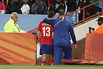 13 JUN 2010: Aleksandar Lukovic (SRB) (13) is escorted off the field after receiving two yellow cards and a red card. The Serbia National Team lost 0-1 to the Ghana National Team at Loftus Versfeld Stadium in Tshwane/Pretoria, South Africa in a 2010 FIFA World Cup Group D match.