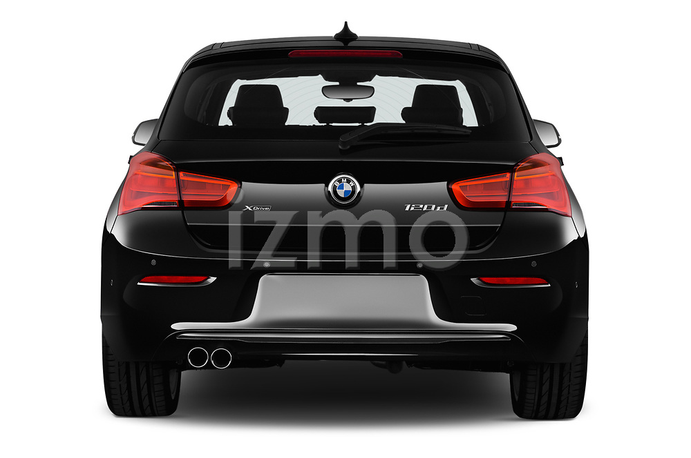 Straight rear view of 2017 BMW 1-Series Sport 5 Door Hatchback stock images