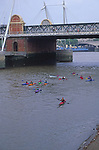 AYBT0F Canoeing on the River Thames in central London England