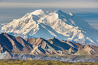 The north and south summits are visible looking west in Denali National Park, Alaska.