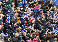 Glasgow. SCOTLAND.  &quot;Inspire a Generation&quot;, local School children make up an audience at the morning session at the &quot;Round Robin&quot; session of,  the Le Gruy&egrave;re European Curling Championships. 2016 Venue, Braehead  Scotland<br /> Tuesday  22/11/2016<br /> <br /> [Mandatory Credit; Peter Spurrier/Intersport-images]