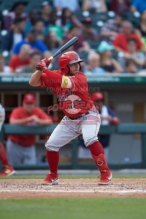 Alberti Chavez (29) of the Louisville Bats at bat against the Charlotte Hornets at BB&T BallPark on June 22, 2019 in Charlotte, North Carolina. The Hornets defeated the Bats 7-6. (Brian Westerholt/Four Seam Images)
