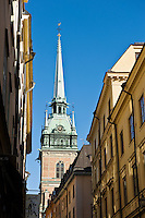 Tower or Tyska Kirken - German church rises above Gamla stan - old town, Stockholm, Sweden