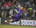 Toluca goalkeeper Alfredo Talavera leaps and looks helplessly as the ball goes into the net on a shot by Sporting KC player Johnny Russell (not shown) during their CONCACAF Champions League game on February 21, 2019 at Children's Mercy Park in Kansas City, KS.<br /> Tim VIZER/Agence France-Presse