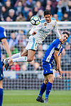 Raphael Varane (L) of Real Madrid competes for the ball with Ruben Sobrino Pozuelo of Deportivo Alaves during the La Liga 2017-18 match between Real Madrid and Deportivo Alaves at Santiago Bernabeu Stadium on February 24 2018 in Madrid, Spain. Photo by Diego Souto / Power Sport Images