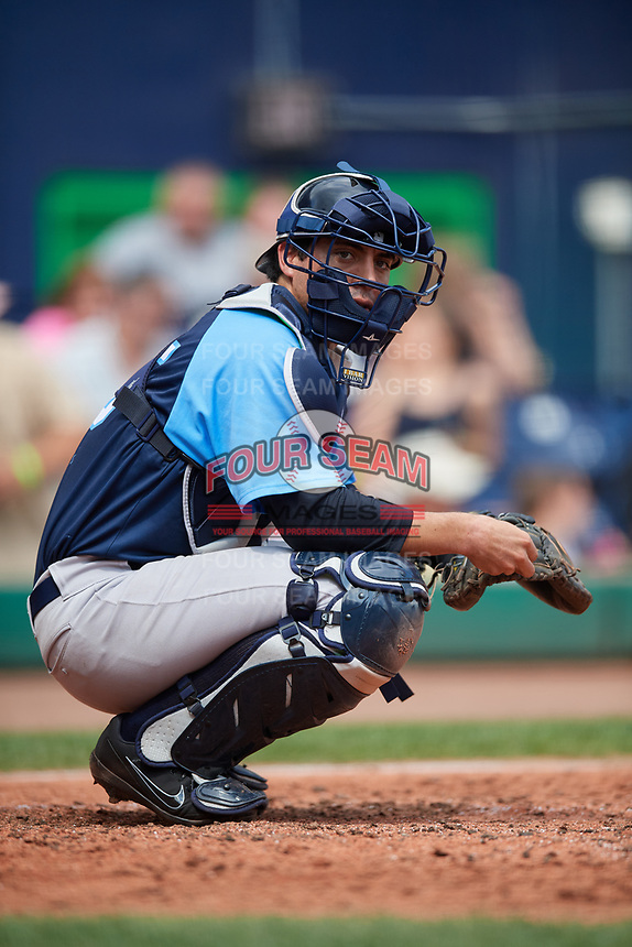 Trenton Thunder catcher Chris Rabago (26) during a game against the Hartford Yard Goats on August 26, 2018 at Dunkin' Donuts Park in Hartford, Connecticut.  Trenton defeated Hartford 8-3.  (Mike Janes/Four Seam Images)