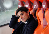 Calcio, Serie A: Roma vs Sampdoria. Roma, stadio Olimpico, 7 febbraio 2016.<br /> Sampdoria&rsquo;s coach Vincenzo Montella waits for the start of the Italian Serie A football match between Roma and Sampdoria at Rome's Olympic stadium, 7 January 2016.<br /> UPDATE IMAGES PRESS/Riccardo De Luca