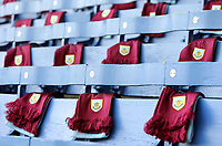 Scarves laid out for Burnley fans ahead of kick-off at Turf Moor<br /> <br /> Photographer Rich Linley/CameraSport<br /> <br /> The Premier League - Saturday 13th April 2019 - Burnley v Cardiff City - Turf Moor - Burnley<br /> <br /> World Copyright © 2019 CameraSport. All rights reserved. 43 Linden Ave. Countesthorpe. Leicester. England. LE8 5PG - Tel: +44 (0) 116 277 4147 - admin@camerasport.com - www.camerasport.com