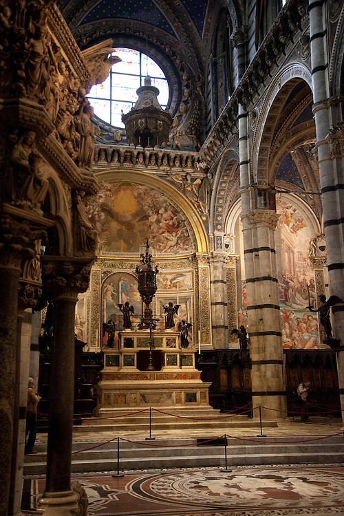 Interior of Siena's Duomo built in 1215-1350-Italy