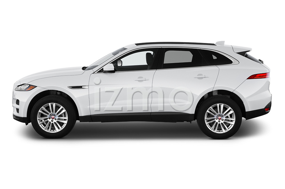 Car Driver side profile view of a 2020 Jaguar F-Pace Prestige 5 Door SUV Side View