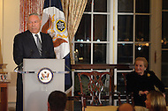 October 27, 2011  (Washington, DC)  Former Secretary of State Colin Powell speaks at the 50th Anniversary Celebration of the Diplomatic Rooms at the State Department in Washington.  Former Secretary of State Madeleine K. Albright (right) looks on.  (Photo by Don Baxter/Media Images International)