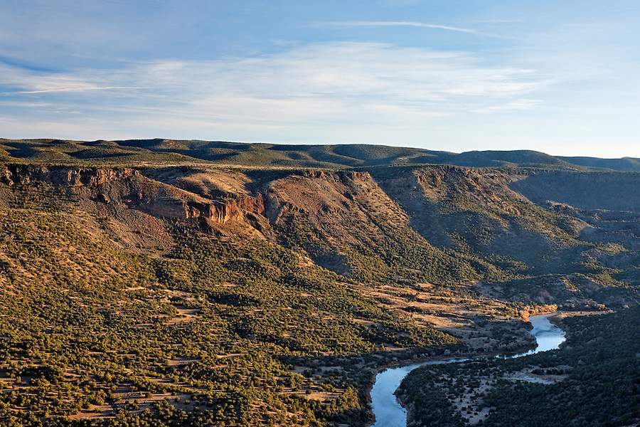 The Rio Grande River running through a canyon just outside Los Alamos, New Mexico, USA