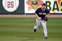 Boston Red Sox outfielder J.D. Drew #23 tracks down a fly ball while playing in a rehab assignment game with the Pawtucket Red Sox against the Rochester Red Wings at Frontier Field on August 30, 2011 in Rochester, New York.  (Mike Janes/Four Seam Images)