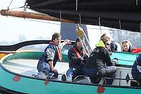 SKUTSJESILEN: LANGWEER: Langwarder Wielen, 13-04-2013, Skûtsjesilen Langwar, Willem Zwaga (schipper Opsjitter | Langweer), ©foto Martin de Jong
