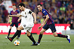 FC Barcelona's Sergio Busquets (r) and Valencia CF's Daniel Parejo during Spanish King's Cup Final match. May 25,2019. (ALTERPHOTOS/Carrusan)