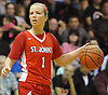 Kyra Bachety #1 of St. John the Baptist surveys the court during the CHSAA varsity girls basketball Class B state semifinals against host Monsignor McClancy High School in East Elmhurst, NY on Friday, Mar. 11, 2016. McClancy won by a score of 63-49.