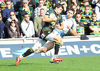 Northampton, England. Vasily Artemyev of Northampton Saints runs in for a try during the Heineken Cup Pool 4 match between Northampton Saints and Glasgow Warriors at Franklin's Gardens on October 14, 2012 in Northampton, England.