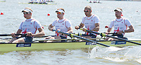Brandenburg. GERMANY. GBR M4-. Bow, Alex GREGORY. Mo SBIHI, George Nash and Constantine LOULOUDIS. <br /> 2016 European Rowing Championships at the Regattastrecke Beetzsee<br /> <br /> Friday  06/05/2016<br /> <br /> [Mandatory Credit; Peter SPURRIER/Intersport-images]