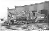 3/4 fireman's-side view of D&amp;RGW #278 outside the Gunnison roundhouse.<br /> D&amp;RGW  Gunnison, CO