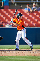 Frederick Keys left fielder T.J. Nichting (17) at bat during the first game of a doubleheader against the Lynchburg Hillcats on June 12, 2018 at Nymeo Field at Harry Grove Stadium in Frederick, Maryland.  Frederick defeated Lynchburg 2-1.  (Mike Janes/Four Seam Images)