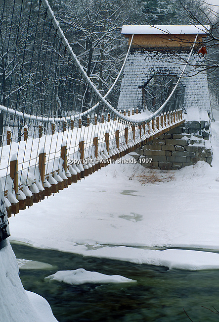 Winter view of the Wire Bridge, New Portland, Somerset County, Maine, USA