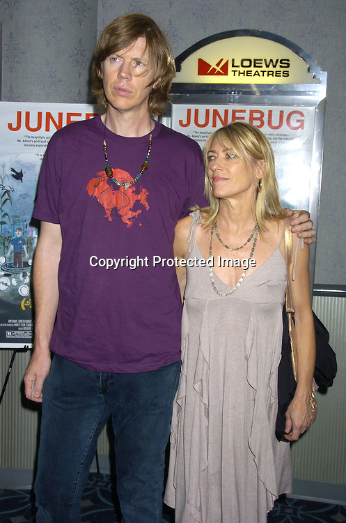 """Thurston Moore and Kim Gordon of Sonic Youth ..at the New York Premier of """"Junebug"""" on August 1, 2005..at the Loews 19th Street Theatre. ..Photo by Robin Platzer, Twin Images"""