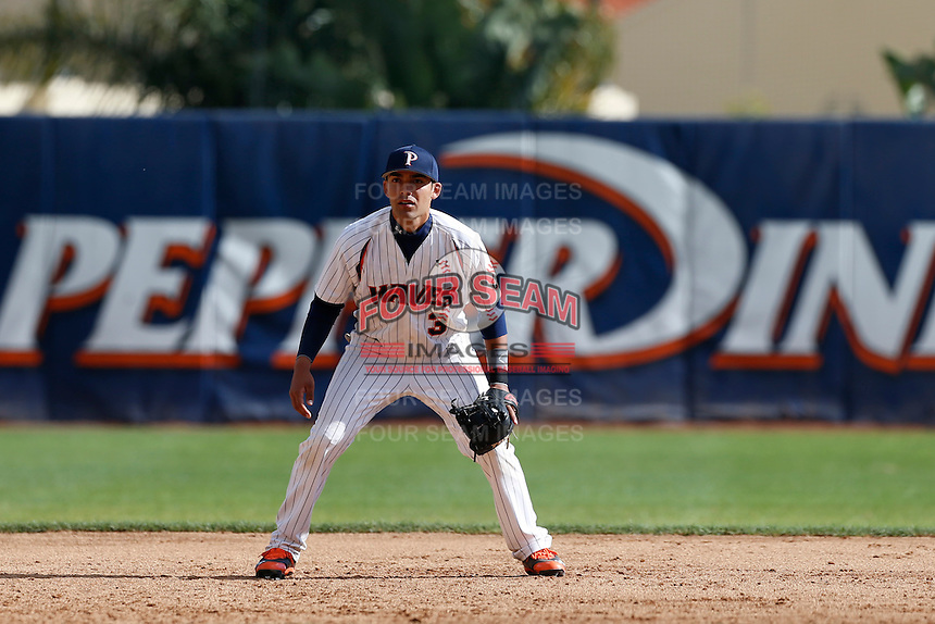 Austin Davidson #3 of the Pepperdine Waves during a baseball game against the Seton Hall Pirates at Eddy D. Field Stadium on March 8, 2013 in Malibu, California. (Larry Goren/Four Seam Images)