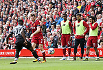 Liverpool's Divock Origi, Emre Can and Mohamed Salah look on unimpressed during the premier league match at the Anfield Stadium, Liverpool. Picture date 19th August 2017. Picture credit should read: David Klein/Sportimage