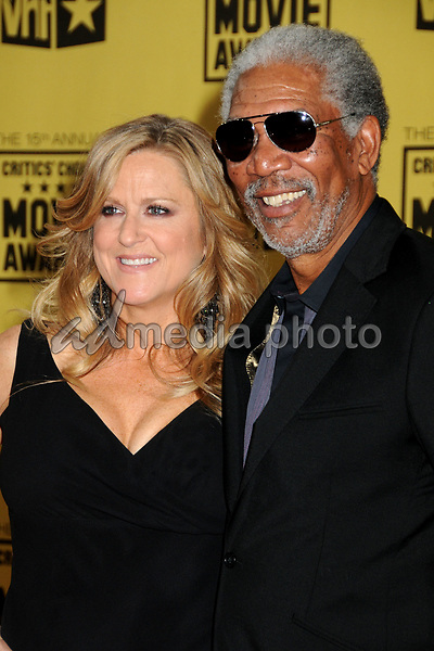 15 January 2010 - Hollywood, California - Morgan Freeman (r) and guest. 15th Annual Critics' Choice Movie Awards - Arrivals held at the Hollywood Palladium. Photo Credit: Byron Purvis/AdMedia