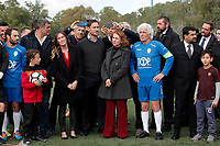 Concetta Raccuia, Maria Elena Boschi, Francesco Totti, Ninetto Davoli e Luca Palamara<br /> Roma 23/12/2017. Totti Soccer School. Partita contro la violenza sulle donne in memoria di Sara di Pietrantonio.<br /> Rome November 23rd 2017. Totti Soccer School. Friendly soccer match fight violence against women.<br /> Foto Samantha Zucchi Insidefoto