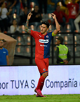 MEDELLÍN-COLOMBIA, 10-10-2019: Germán Ezequiel Cano de Deportivo Independiente Medellín celebra el gol que anotó a Cúcuta Deportivo, durante partido de la fecha 16 entre Deportivo Independiente Medellín y Cúcuta Deportivo, por la Liga Águila II 2019, en el estadio Atanasio Girardot de la ciudad de Medellín. / German Ezequiel Cano of Deportivo Independiente Medellin celebrates el scored goal to Cúcuta Deportivo, during a match for the 16th date between Deportivo Independiente Medellin and Cucuta Deportivo, for the Aguila Leguaje II 2019 at the Atanasio Girardot stadium in Medellin city. Photos: VizzorImage  / León Monsalve / Cont.