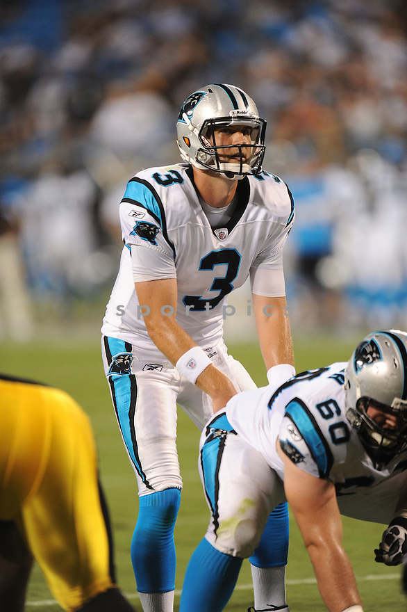 DEREK ANDERSON, of the Carolina Panthers, in action during the Panthers game against the Pittsburgh Steelers on September 1, 2011 at Bank of America Stadium in Charlotte, NC. The Steelers beat the Panthers 33-17.