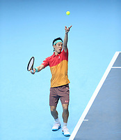 Japan's Kei Nishikori during his match against Switzerland's Roger Federer<br /> <br /> Photographer Rob Newell/CameraSport<br /> <br /> International Tennis - Nitto ATP World Tour Finals Day 1 - O2 Arena - London - Sunday 11th November 2018<br /> <br /> World Copyright &copy; 2018 CameraSport. All rights reserved. 43 Linden Ave. Countesthorpe. Leicester. England. LE8 5PG - Tel: +44 (0) 116 277 4147 - admin@camerasport.com - www.camerasport.com