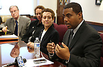Nevada Senate Democrats, from left, David Parks, Sheila Leslie, Valerie Wiener and Steven Horsford answer media questions at the Legislature, in Carson City, Nev., on Wednesday, March 30, 2011.  .Photo by Cathleen Allison