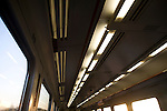 Lights in train carriage motion movement of a journey
