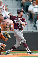 Texas A&M Aggies outfielder Tyler Naquin #18 swings against the Texas Longhorns in NCAA Big XII Conference baseball on May 21, 2011 at Disch Falk Field in Austin, Texas. (Photo by Andrew Woolley / Four Seam Images)
