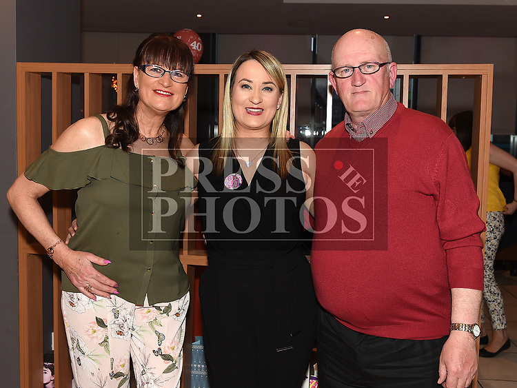 Deborah Mullan celebrating her 40th birthday in Brú with her parents Tommy and Patricia. Photo:Colin Bell/pressphotos.ie