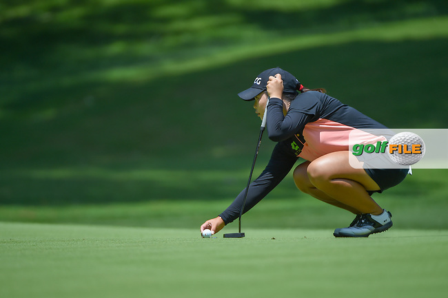 Moriya Jutanugarn (THA) lines up her putt on 1 during round 1 of the U.S. Women's Open Championship, Shoal Creek Country Club, at Birmingham, Alabama, USA. 5/31/2018.<br /> Picture: Golffile | Ken Murray<br /> <br /> All photo usage must carry mandatory copyright credit (© Golffile | Ken Murray)